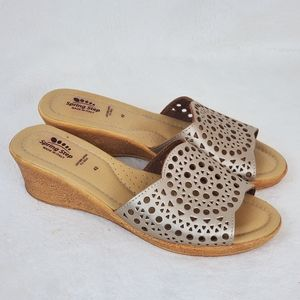 Spring Step Leather Wedge Sandals Made in Italy 11